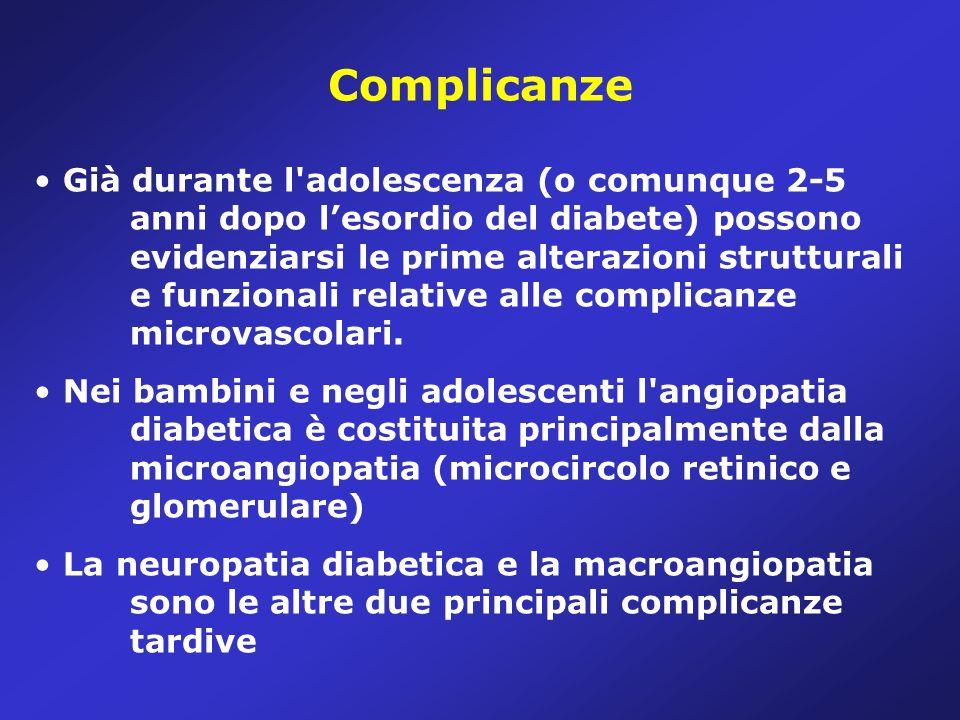 Complicanze Già durante l adolescenza (o comunque 2-5 anni dopo lesordio del diabete) possono evidenziarsi le prime alterazioni strutturali e funzionali relative alle complicanze microvascolari.