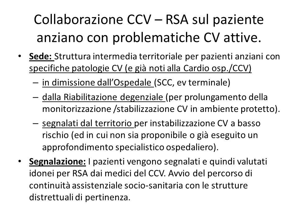 Collaborazione CCV – RSA sul paziente anziano con problematiche CV attive. Sede: Struttura intermedia territoriale per pazienti anziani con specifiche