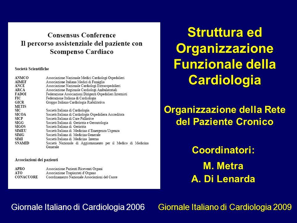Coordinatori: M. Metra A. Di Lenarda Struttura ed Organizzazione Funzionale della Cardiologia Organizzazione della Rete del Paziente Cronico Giornale