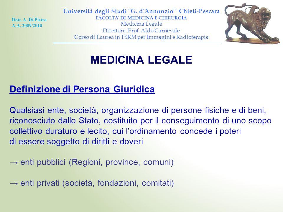 MEDICINA LEGALE Definizione di Persona Giuridica Qualsiasi ente, società, organizzazione di persone fisiche e di beni, riconosciuto dallo Stato, costi