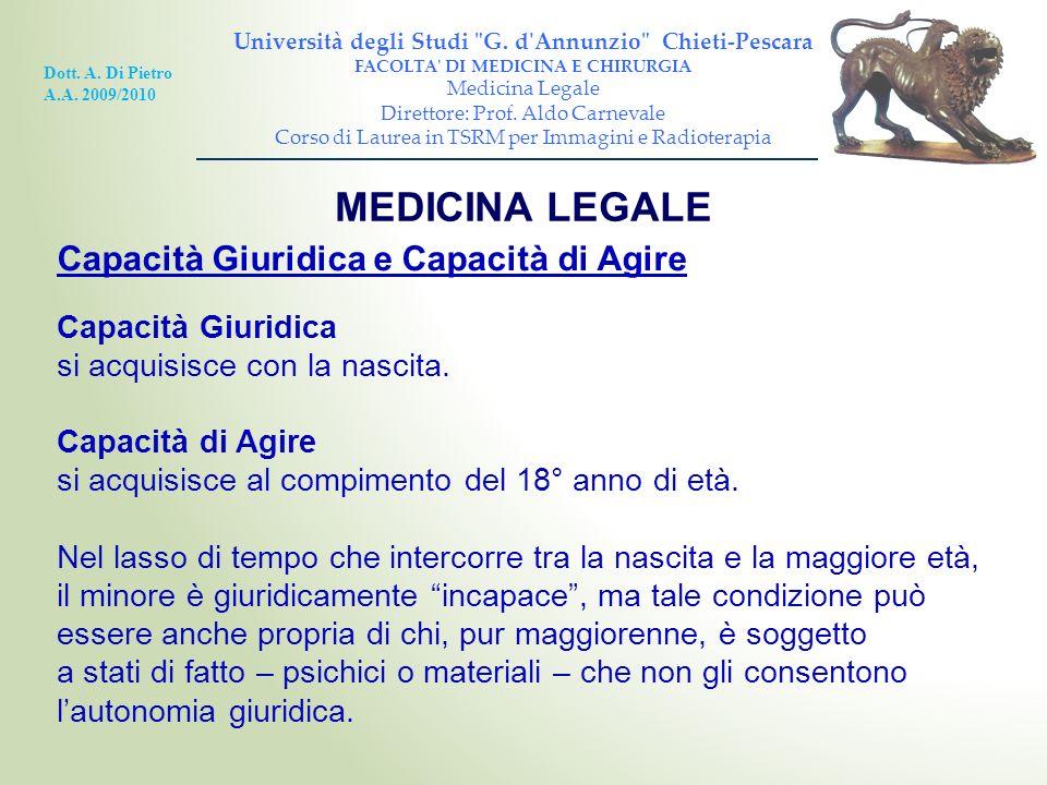 MEDICINA LEGALE Capacità Giuridica e Capacità di Agire Capacità Giuridica si acquisisce con la nascita. Capacità di Agire si acquisisce al compimento