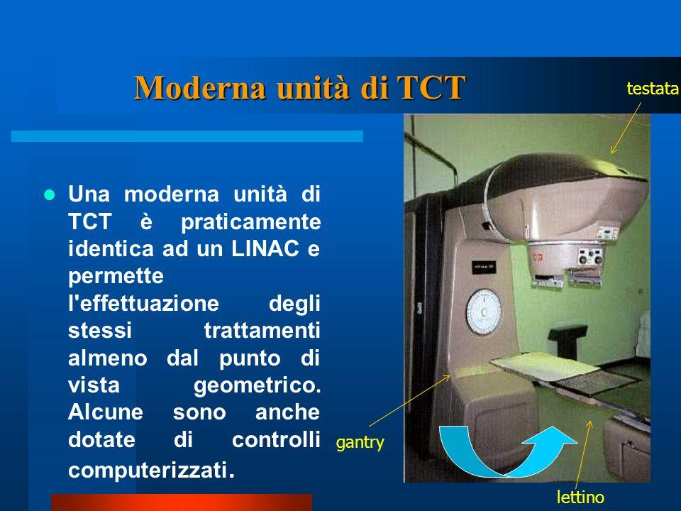 Una moderna unità di TCT è praticamente identica ad un LINAC e permette l'effettuazione degli stessi trattamenti almeno dal punto di vista geometrico.