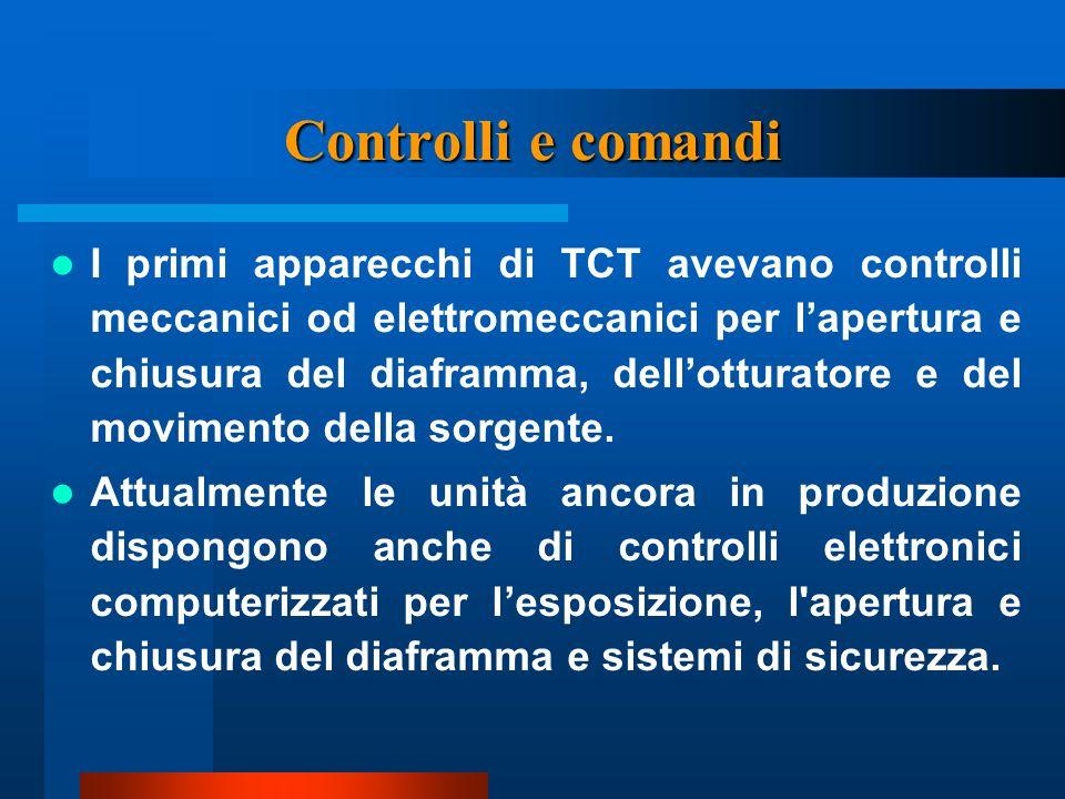 Controlli e comandi I primi apparecchi di TCT avevano controlli meccanici od elettromeccanici per lapertura e chiusura del diaframma, dellotturatore e