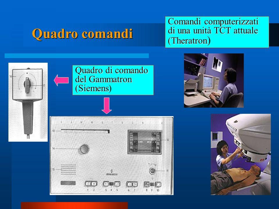 Quadro di comando del Gammatron (Siemens Quadro di comando del Gammatron (Siemens) Comandi computerizzati di una unità TCT attuale (Theratron Comandi