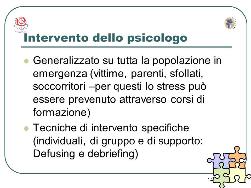 14 Intervento dello psicologo Generalizzato su tutta la popolazione in emergenza (vittime, parenti, sfollati, soccorritori –per questi lo stress può e