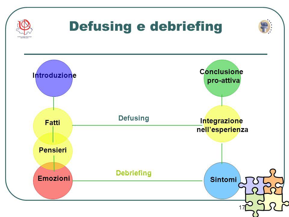 17 Defusing Debriefing Pensieri Fatti Sintomi Defusing e debriefing