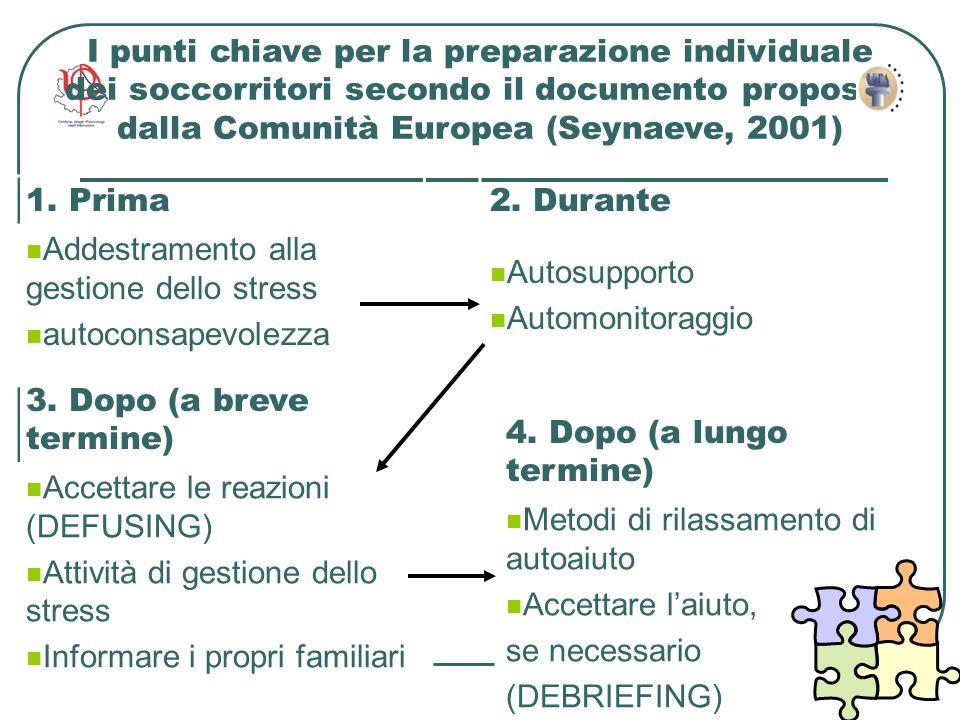 18 I punti chiave per la preparazione individuale dei soccorritori secondo il documento proposto dalla Comunità Europea (Seynaeve, 2001) 1. Prima Adde