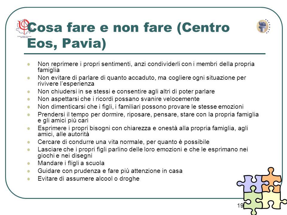 19 Cosa fare e non fare (Centro Eos, Pavia) Non reprimere i propri sentimenti, anzi condividerli con i membri della propria famiglia Non evitare di pa