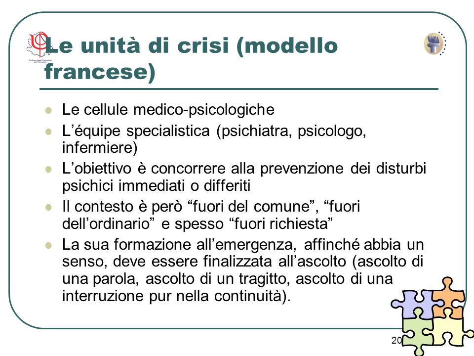 20 Le unità di crisi (modello francese) Le cellule medico-psicologiche Léquipe specialistica (psichiatra, psicologo, infermiere) Lobiettivo è concorre