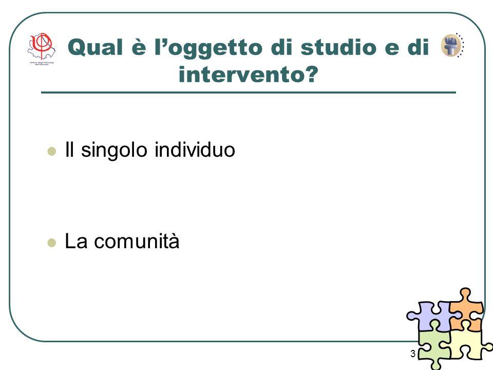 3 Qual è loggetto di studio e di intervento? Il singolo individuo La comunità