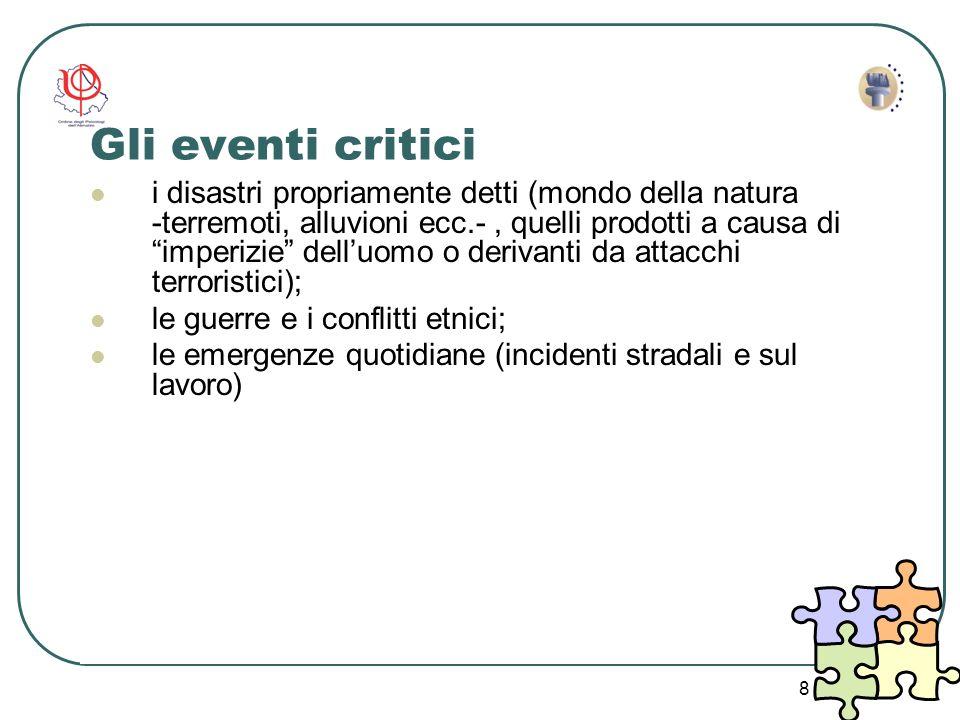 8 Gli eventi critici i disastri propriamente detti (mondo della natura -terremoti, alluvioni ecc.-, quelli prodotti a causa di imperizie delluomo o de