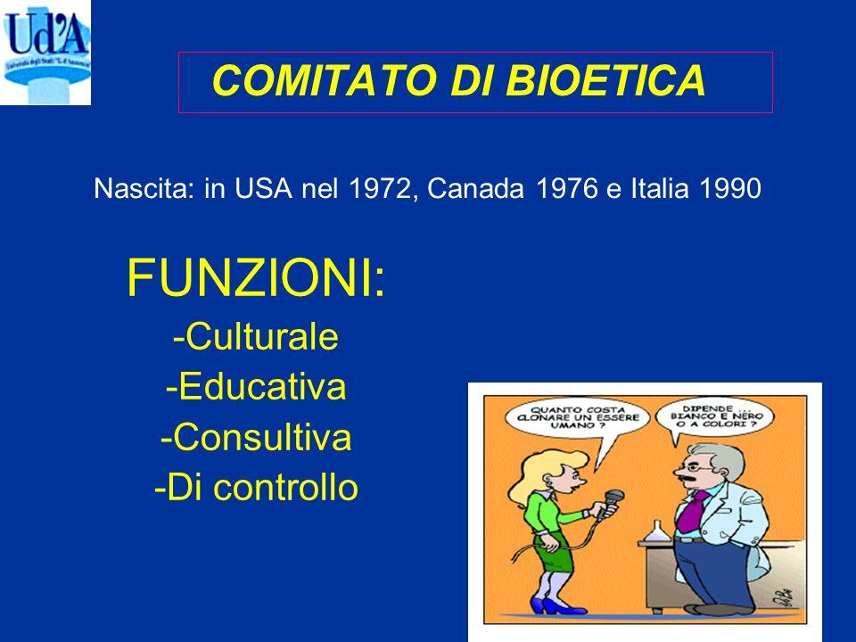 COMITATO DI BIOETICA Nascita: in USA nel 1972, Canada 1976 e Italia 1990 FUNZIONI: -Culturale -Educativa -Consultiva -Di controllo