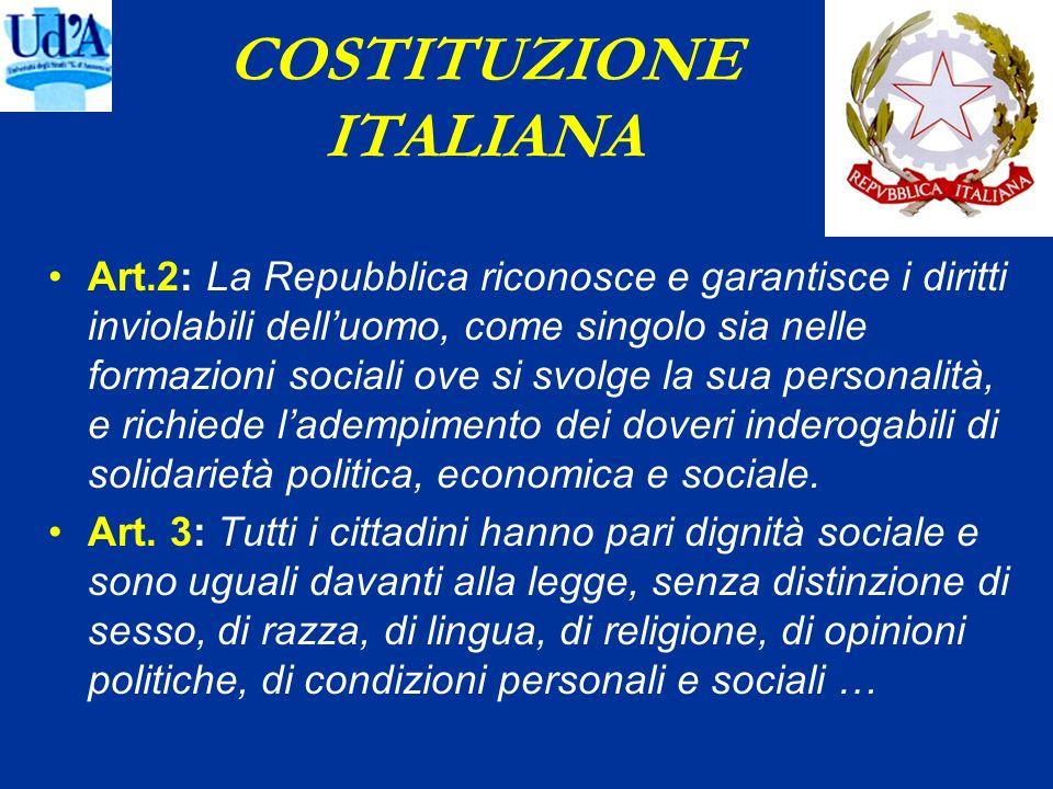 COSTITUZIONE ITALIANA Art.2: La Repubblica riconosce e garantisce i diritti inviolabili delluomo, come singolo sia nelle formazioni sociali ove si svo