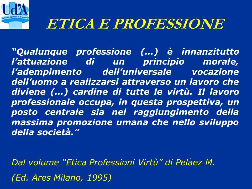 ETICA E PROFESSIONE Qualunque professione (…) è innanzitutto lattuazione di un principio morale, ladempimento delluniversale vocazione delluomo a real