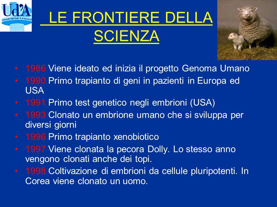 LE FRONTIERE DELLA SCIENZA 1986 Viene ideato ed inizia il progetto Genoma Umano 1990 Primo trapianto di geni in pazienti in Europa ed USA 1991 Primo t
