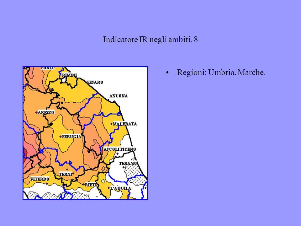 Indicatore IR negli ambiti. 8 Regioni: Umbria, Marche.