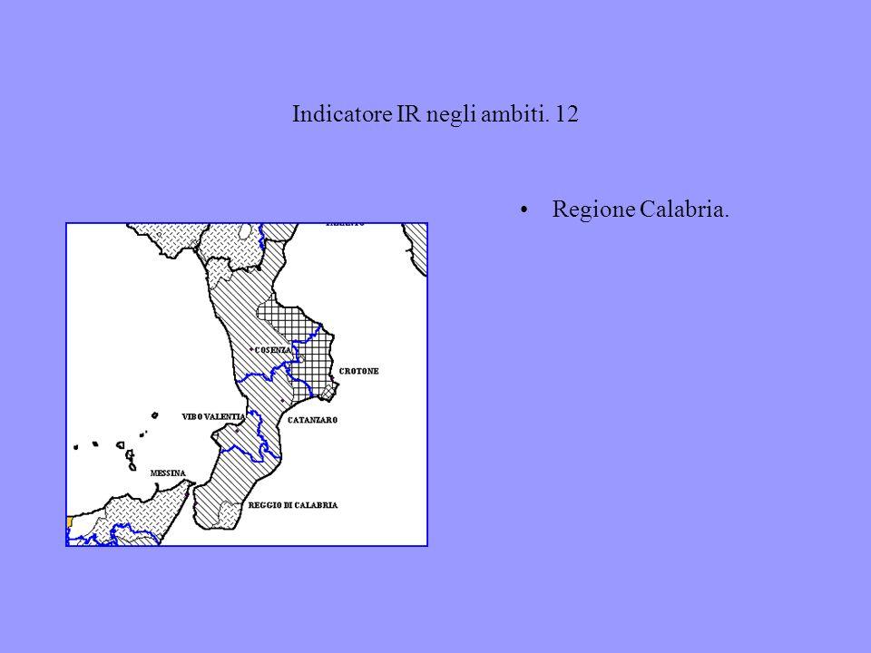 Indicatore IR negli ambiti. 12 Regione Calabria.