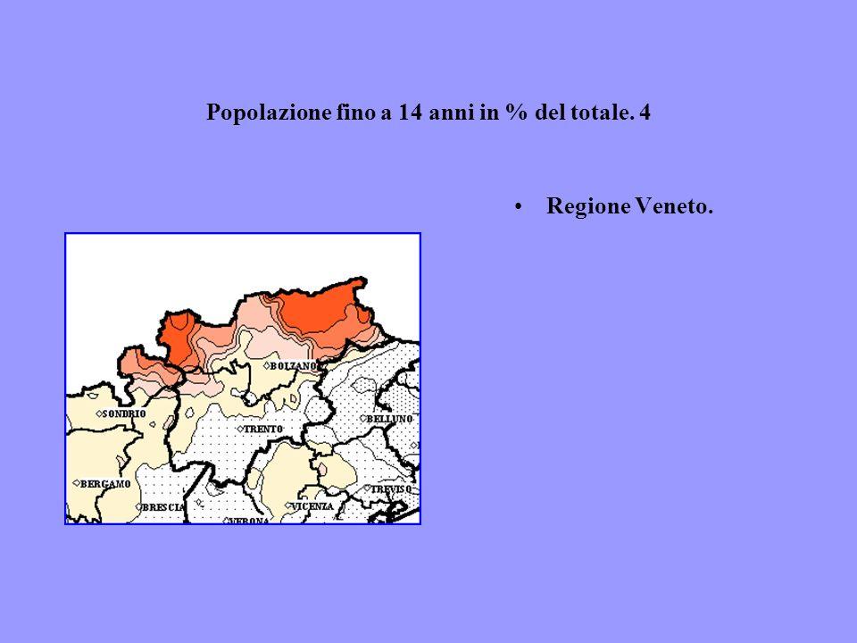 Popolazione fino a 14 anni in % del totale. 4 Regione Veneto.