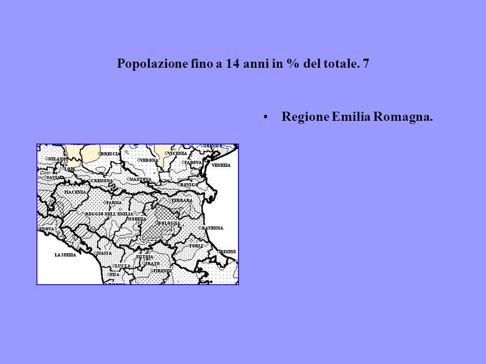 Popolazione fino a 14 anni in % del totale. 7 Regione Emilia Romagna.
