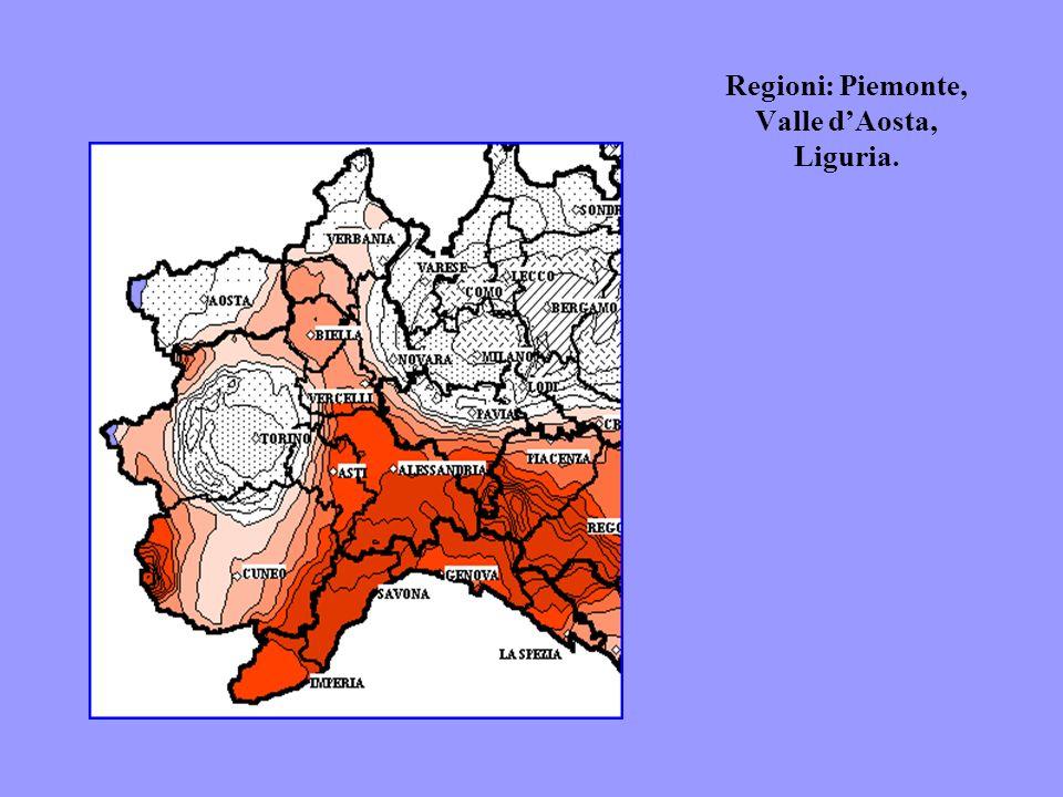 Regioni: Piemonte, Valle dAosta, Liguria.