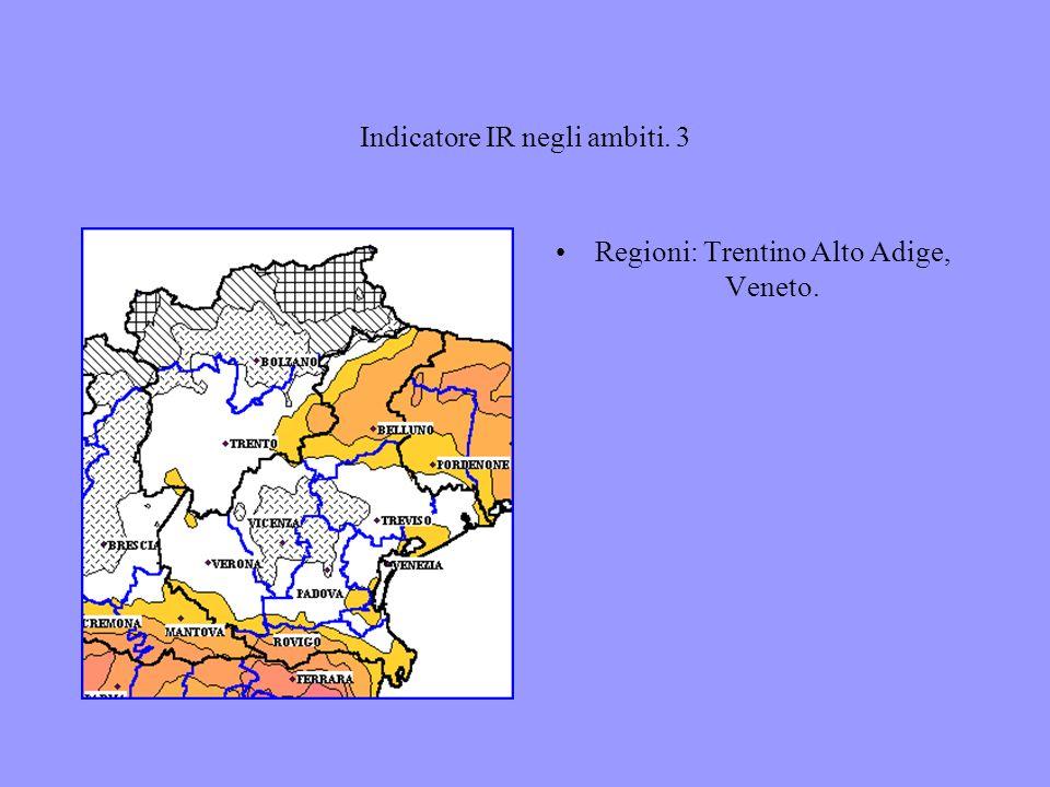 Indicatore IR negli ambiti. 3 Regioni: Trentino Alto Adige, Veneto.