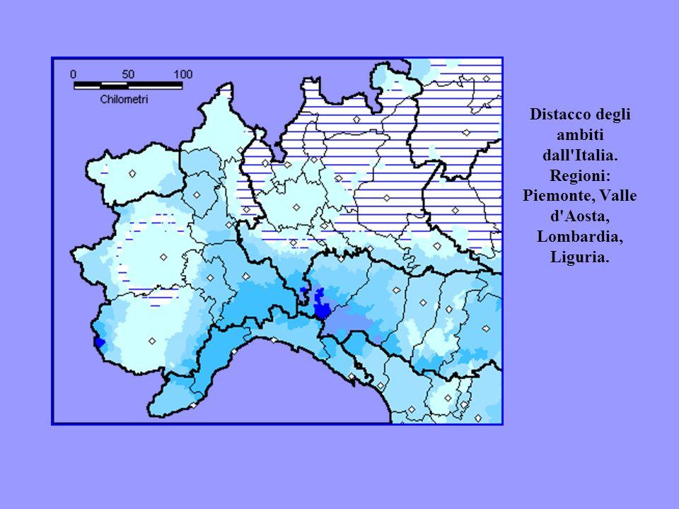 Distacco degli ambiti dall'Italia. Regioni: Piemonte, Valle d'Aosta, Lombardia, Liguria.