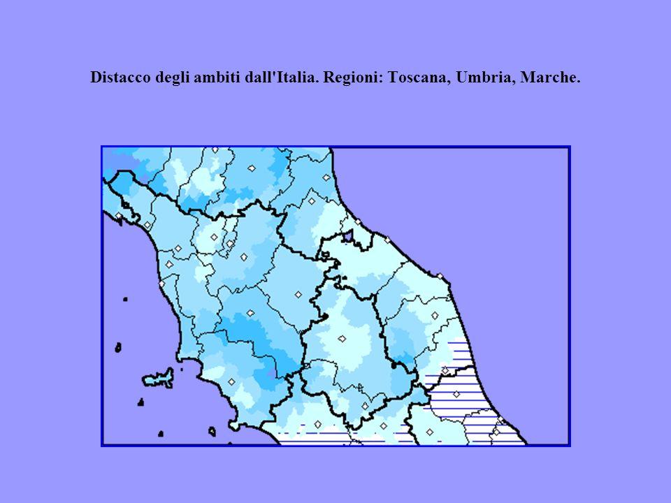 Distacco degli ambiti dall'Italia. Regioni: Toscana, Umbria, Marche.