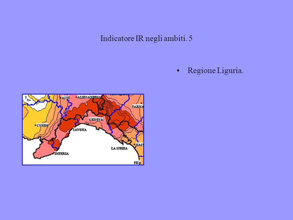 Indicatore IR negli ambiti. 5 Regione Liguria.