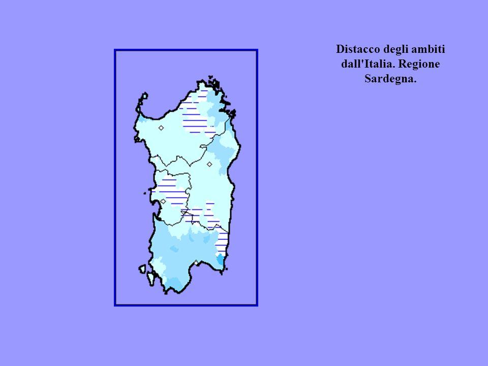 Distacco degli ambiti dall'Italia. Regione Sardegna.