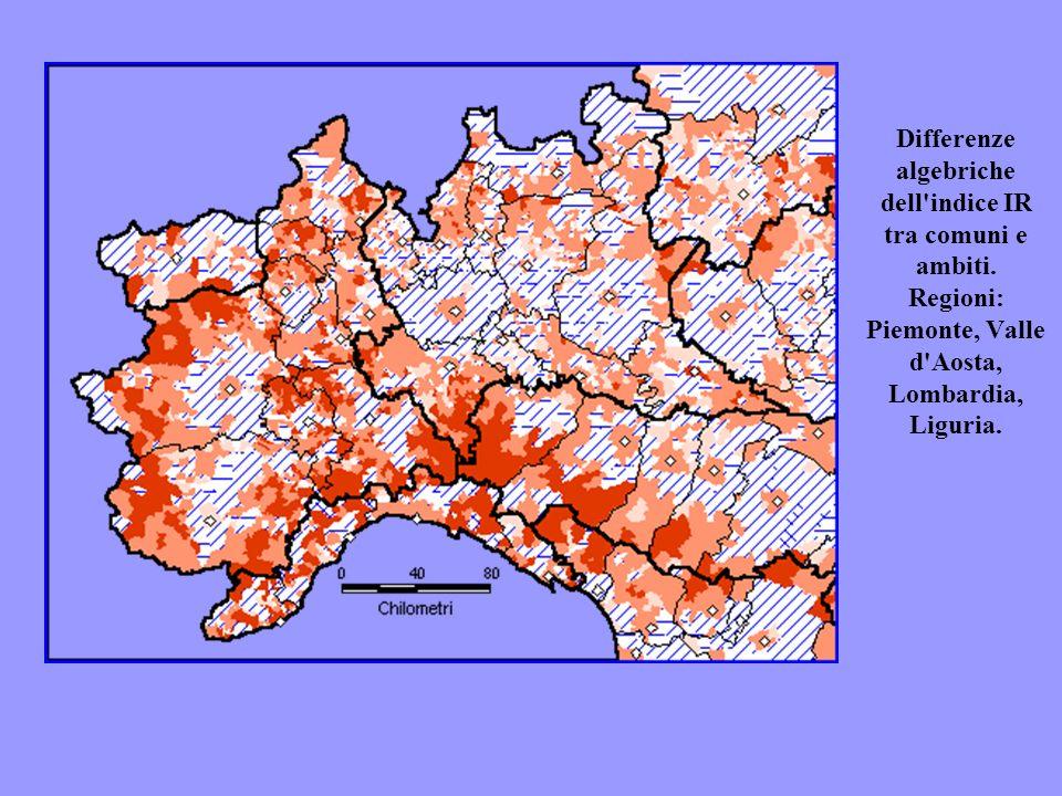 Differenze algebriche dell'indice IR tra comuni e ambiti. Regioni: Piemonte, Valle d'Aosta, Lombardia, Liguria.
