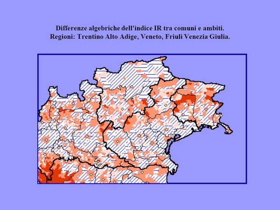 Differenze algebriche dell'indice IR tra comuni e ambiti. Regioni: Trentino Alto Adige, Veneto, Friuli Venezia Giulia.