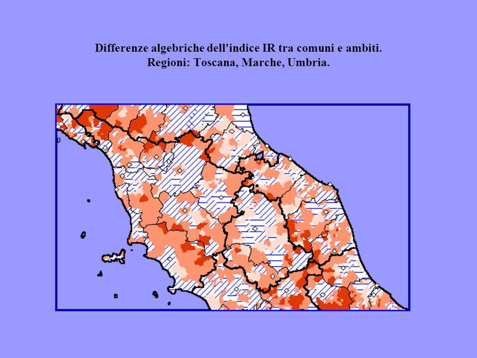 Differenze algebriche dell'indice IR tra comuni e ambiti. Regioni: Toscana, Marche, Umbria.