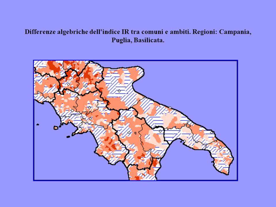 Differenze algebriche dell'indice IR tra comuni e ambiti. Regioni: Campania, Puglia, Basilicata.