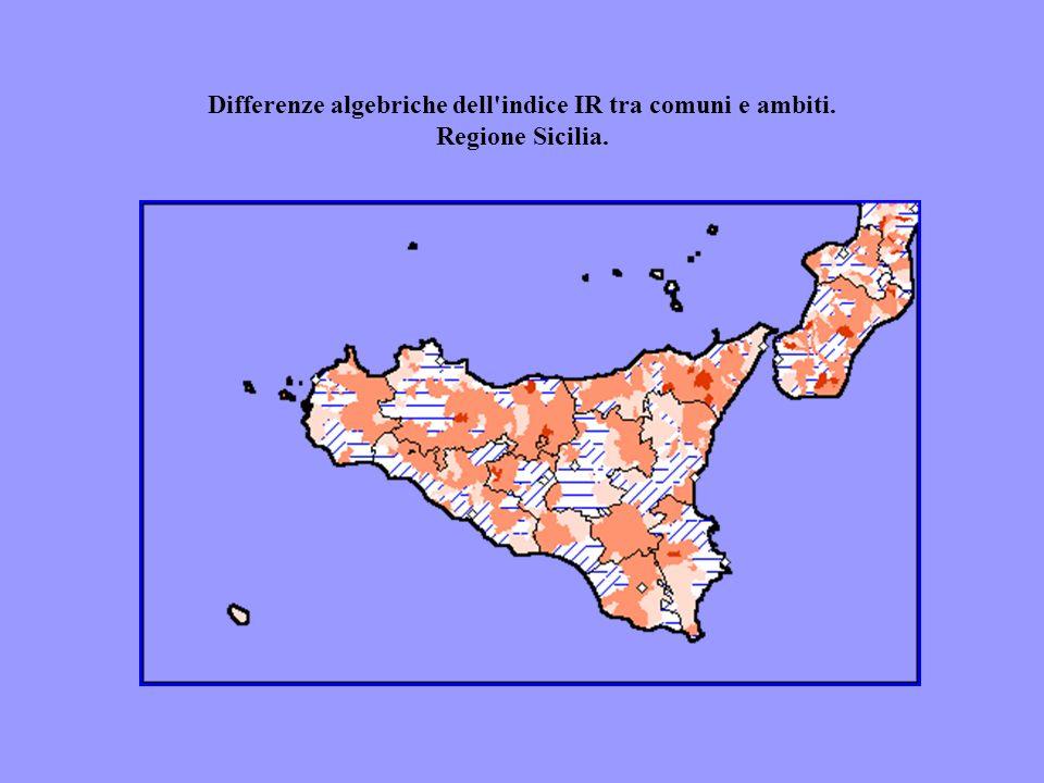 Differenze algebriche dell'indice IR tra comuni e ambiti. Regione Sicilia.