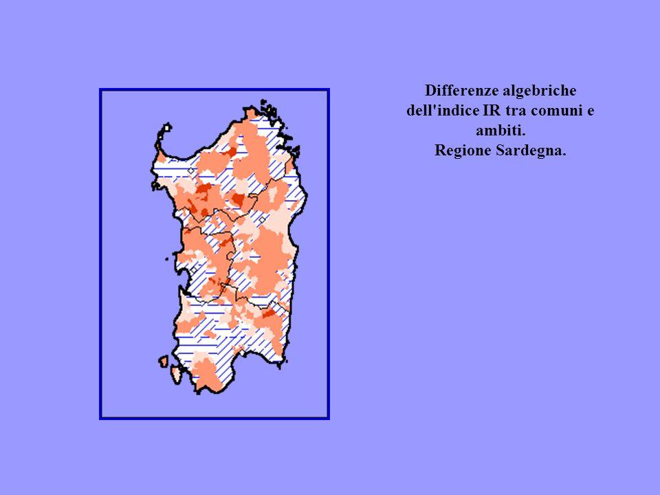 Differenze algebriche dell'indice IR tra comuni e ambiti. Regione Sardegna.