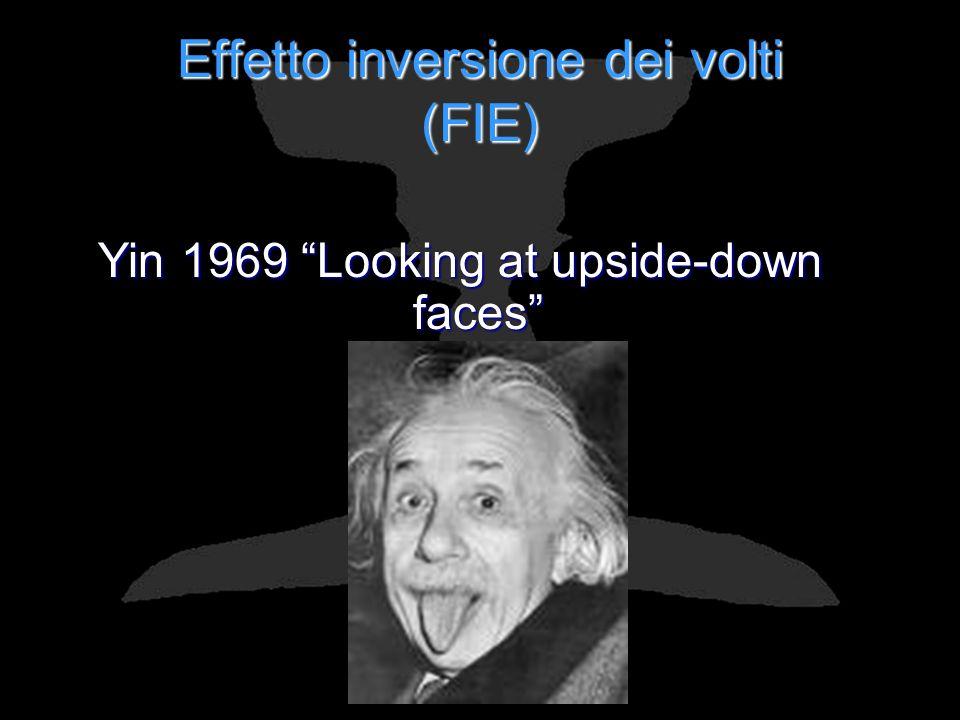 Effetto inversione dei volti (FIE) Yin 1969 Looking at upside-down faces Fenomeno che si manifesta in una minor accuratezza e in una maggior lentezza dei soggetti nel riconoscere facce capovolte (ruotate di 180°) rispetto a facce presentate nellorientamento canonico.