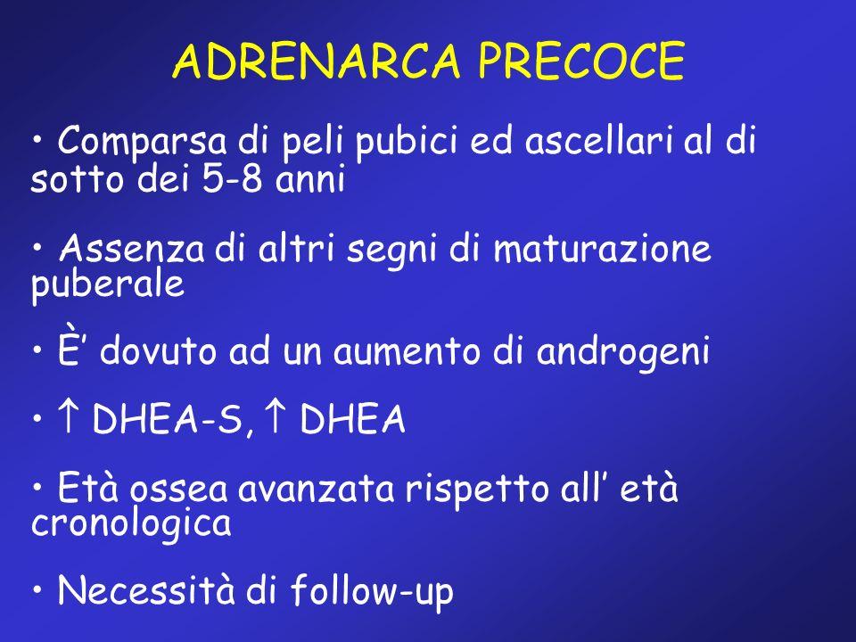 Comparsa di peli pubici ed ascellari al di sotto dei 5-8 anni Assenza di altri segni di maturazione puberale È dovuto ad un aumento di androgeni DHEA-