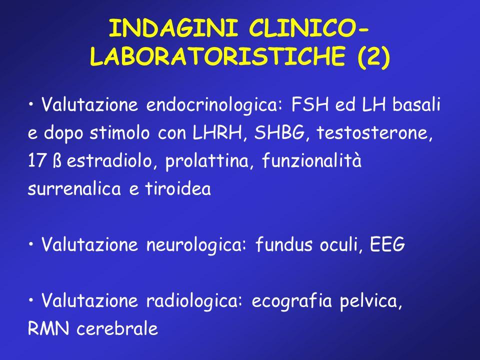 Valutazione endocrinologica: FSH ed LH basali e dopo stimolo con LHRH, SHBG, testosterone, 17 ß estradiolo, prolattina, funzionalità surrenalica e tir