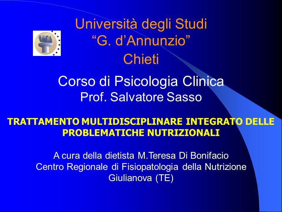Università degli Studi G. dAnnunzio Chieti Corso di Psicologia Clinica Prof. Salvatore Sasso TRATTAMENTO MULTIDISCIPLINARE INTEGRATO DELLE PROBLEMATIC