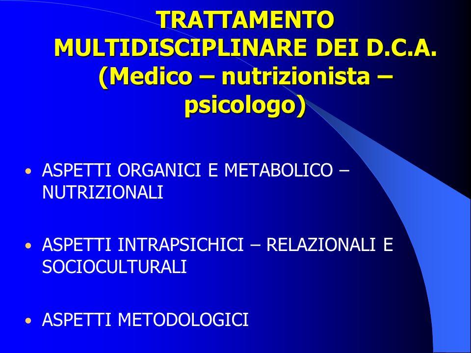 TRATTAMENTO MULTIDISCIPLINARE DEI D.C.A. (Medico – nutrizionista – psicologo) ASPETTI ORGANICI E METABOLICO – NUTRIZIONALI ASPETTI INTRAPSICHICI – REL