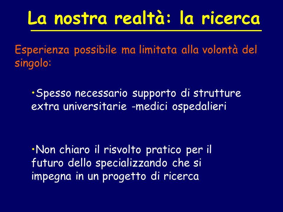 Esperienza possibile ma limitata alla volontà del singolo: La nostra realtà: la ricerca Spesso necessario supporto di strutture extra universitarie -m