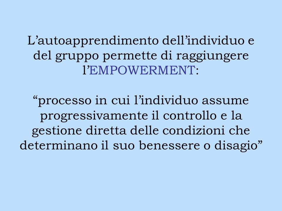 Lautoapprendimento dellindividuo e del gruppo permette di raggiungere lEMPOWERMENT: processo in cui lindividuo assume progressivamente il controllo e