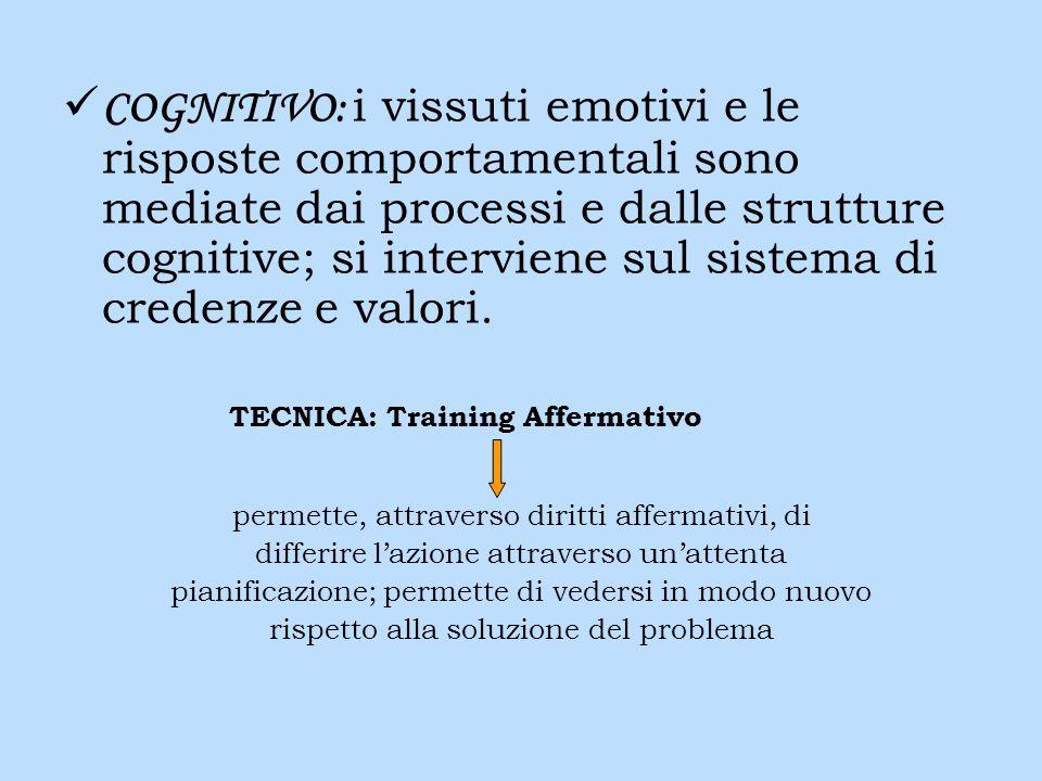 COGNITIVO: i vissuti emotivi e le risposte comportamentali sono mediate dai processi e dalle strutture cognitive; si interviene sul sistema di credenz