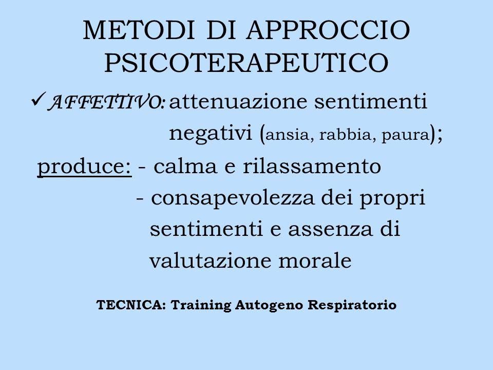 METODI DI APPROCCIO PSICOTERAPEUTICO AFFETTIVO: attenuazione sentimenti negativi ( ansia, rabbia, paura ); produce: - calma e rilassamento - consapevo