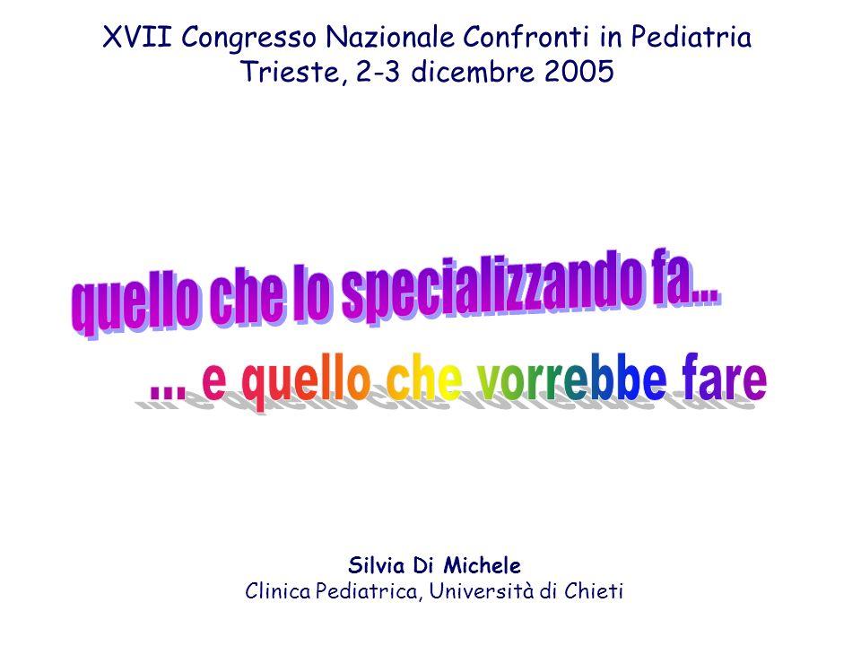 XVII Congresso Nazionale Confronti in Pediatria Trieste, 2-3 dicembre 2005 Silvia Di Michele Clinica Pediatrica, Università di Chieti