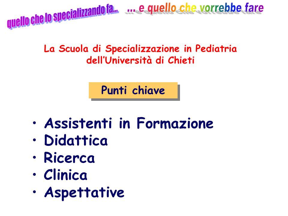 Attività clinica Punti chiave Assistenti in Formazione Didattica Ricerca Clinica Aspettative La Scuola di Specializzazione in Pediatria dellUniversità