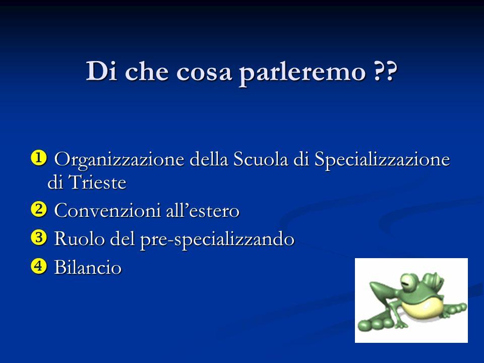 Di che cosa parleremo ?? Organizzazione della Scuola di Specializzazione di Trieste Organizzazione della Scuola di Specializzazione di Trieste Convenz
