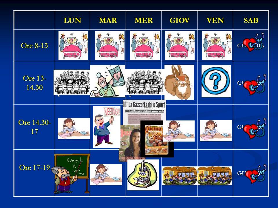LUNMARMERGIOVVENSAB Ore 8-13 GUARDIA Ore 13- 14.30 riunione clinica pediatrica riunione radiologia riunione clinica pediatrica Giovedì della Lepore Ca