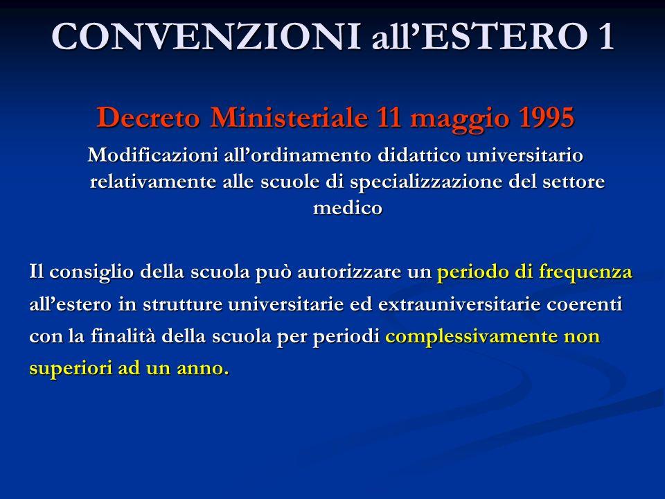 CONVENZIONI allESTERO 1 Decreto Ministeriale 11 maggio 1995 Modificazioni allordinamento didattico universitario relativamente alle scuole di speciali