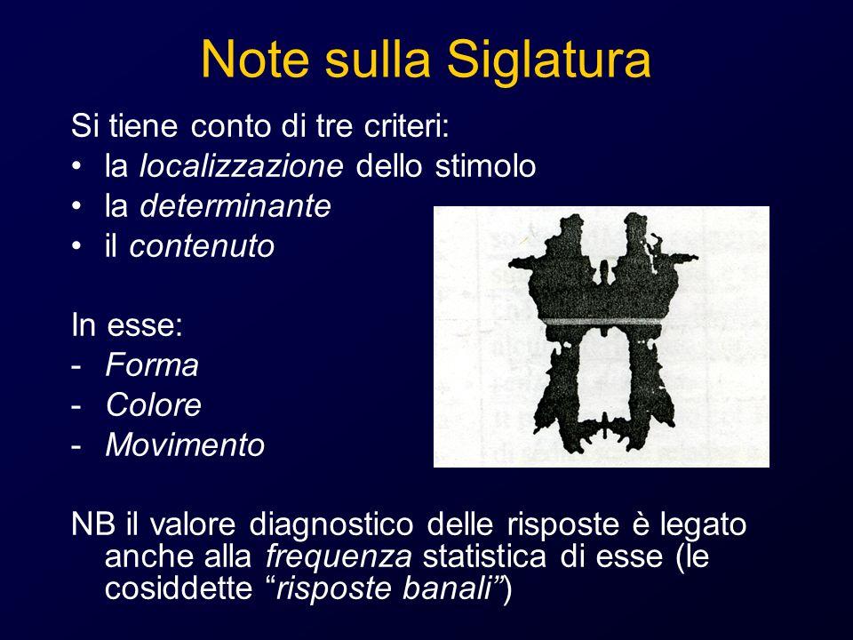 Note sulla Siglatura Si tiene conto di tre criteri: la localizzazione dello stimolo la determinante il contenuto In esse: -Forma -Colore -Movimento NB